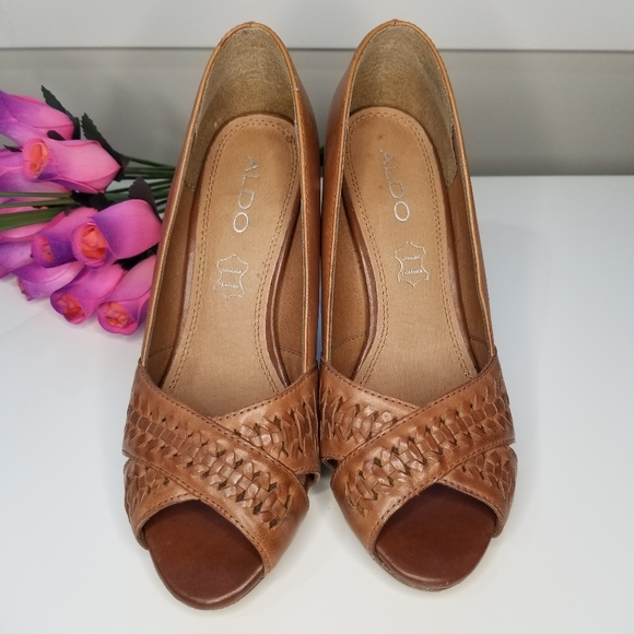 ALDO heels Genuine Leather size 36 Tan color